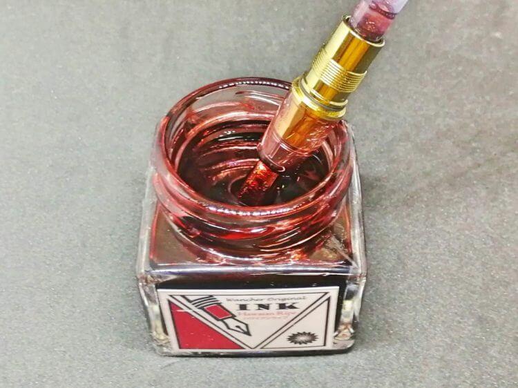 ハワイアンライプ万年筆のインクを吸入