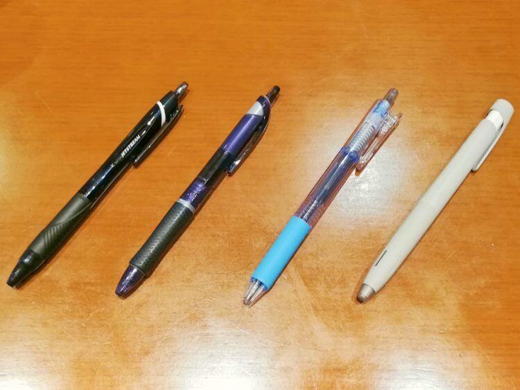 4種の滑らかボールペン
